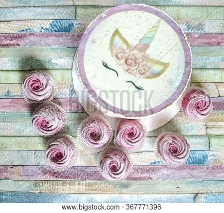 Piece Of Caramel Cake With Cream. Group Of Homemade Marshmallow Zephyr On Colorful Background ,
