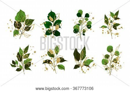 Gold Leaves Green Tropical Branch Plants Wedding Bouquet With Golden Splatters Isolated. Floral Foli