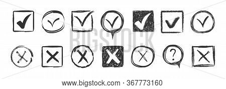 Doodle Check Marks. Check Signs Sketch, Voting Agree Checklist Mark Or Examination Task List. Hand D