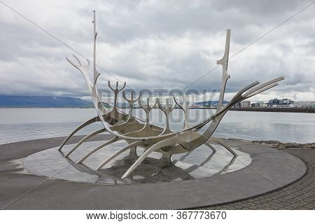 Reykjavik, Iceland - June 27, 2014: Sun Voyager Sculpture Made From Stainless Steel By Jon Gunnar Ar