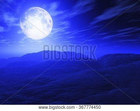 3D render of a surreal landscape with moonlit sky