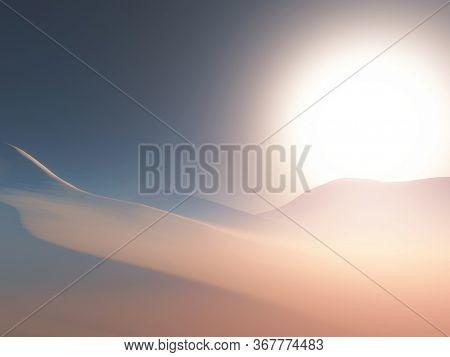 3D render of a landscape of a hazy desert scene at sunset
