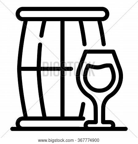 Keg And A Glass Icon. Outline Keg And A Glass Vector Icon For Web Design Isolated On White Backgroun