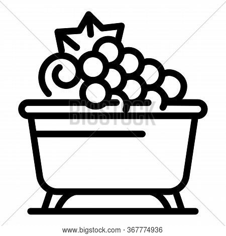 Bath With Grapes Icon. Outline Bath With Grapes Vector Icon For Web Design Isolated On White Backgro