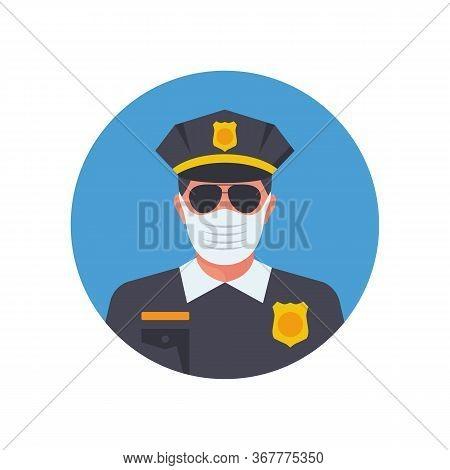 Police In Medical Mask. Officer Avatar In Facial Mask. Vector Illustration Flat Design. Officer Obse