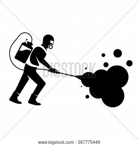 Black Silhouette Disinfection. Icon Man In Hazmat. Protective Suit, Gas Mask For Disinfection Corona