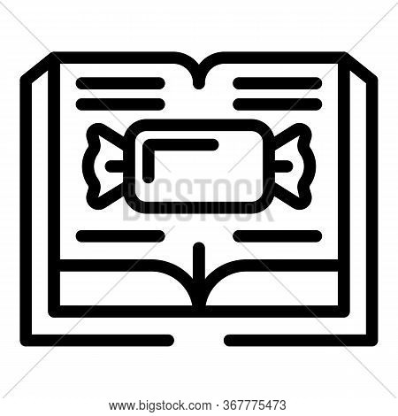 Bonbon On The Open Book Icon. Outline Bonbon On The Open Book Vector Icon For Web Design Isolated On