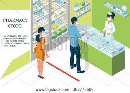 Quarantine Landing Page. Doctor Pharmacist In Pharmacy. Shelves With Medicines And Pills. Medical Pr