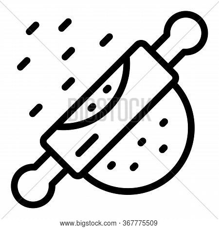 Rolling Pin And Dough Icon. Outline Rolling Pin And Dough Vector Icon For Web Design Isolated On Whi