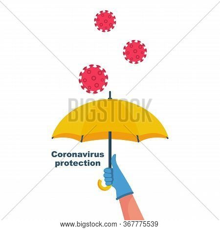 Protecting Coronavirus Concept. A Hand In Protective Gloves Is Protected From Flying Bacteria Covid-