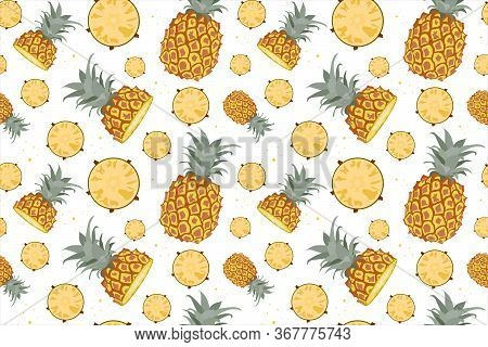 Tropical Seamless Pattern With Fresh Exotic Fruits, Summer Design Fruit Ananas. Colorful Wallpaper V