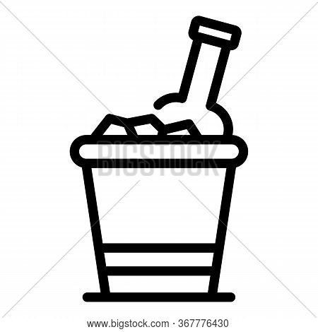 Bottle In Ice Bucket Icon. Outline Bottle In Ice Bucket Vector Icon For Web Design Isolated On White