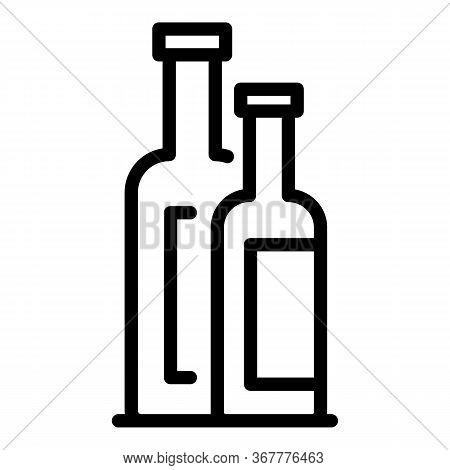 Small And Big Bottles Icon. Outline Small And Big Bottles Vector Icon For Web Design Isolated On Whi