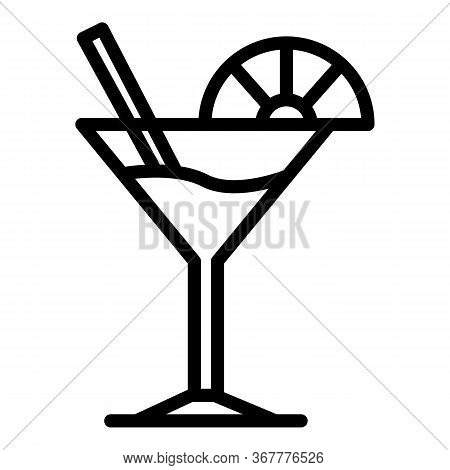 Martini Glass And Lime Slice Icon. Outline Martini Glass And Lime Slice Vector Icon For Web Design I