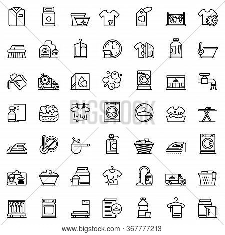 Dry Cleaning Icons Set. Outline Set Of Dry Cleaning Vector Icons For Web Design Isolated On White Ba