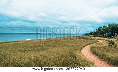 Dramatic Landscape Of Lake Michigan Dunes And Beach In New Buffalo Michigan. Sandy Foot Path Leading