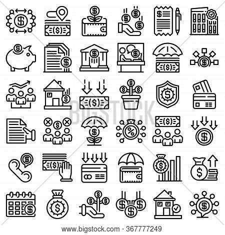 Subsidy Icons Set. Outline Set Of Subsidy Vector Icons For Web Design Isolated On White Background