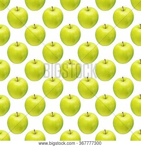 Pattern Of Green Apples On A White Background. Isolated Fruits. Image For Fabric, Wallpaper And Wrap