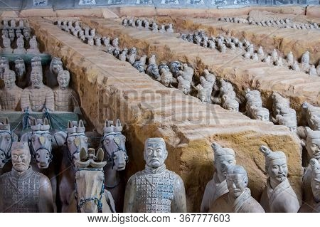 Excavated Sculptures Of The Terracotta Army In Xian, China