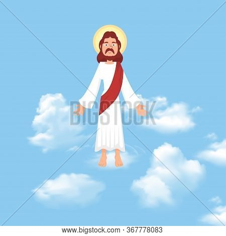 The Ascension Of Jesus Christ With Blue Sky Vector Illustration,ascension Day