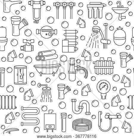Seamless Pattern With Plumbing Service Flat Line Icon On A Azure Background. Concept For Web Banners