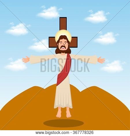The Ascension Jesus Christ Cross Christianity Vector Illustration,ascension Day