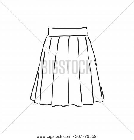 Vector Illustration Of Skirts. Womens Clothes, Skirt, Vector Sketch Illustration