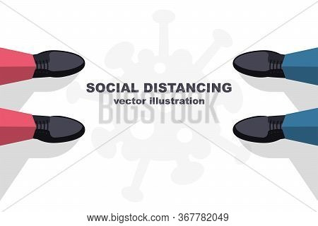 Social Distancing Concept. Landing Page Social Awareness. The Legs Of Two Men Standing Far Apart. Ke