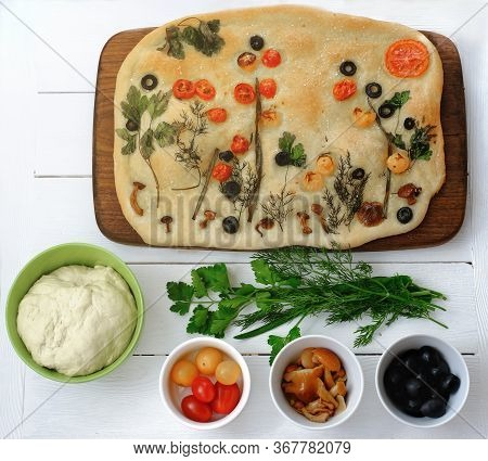Focaccia Gardens Trend. Focaccia Bread With Ingredients On White Wooden Table. Social Media Trendy F