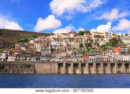 Medieval houses in old part of Ribeira, Porto, Portugal. UNESCO world heritage site. View from Douro River