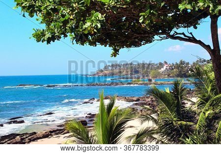 Sandy beach, palm leaves and waves of the Indian Ocean, sunny day, Sri Lanka