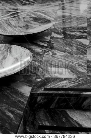 Bw Photo Of A Prestige And Modern Marble Hall. Hires Photo.