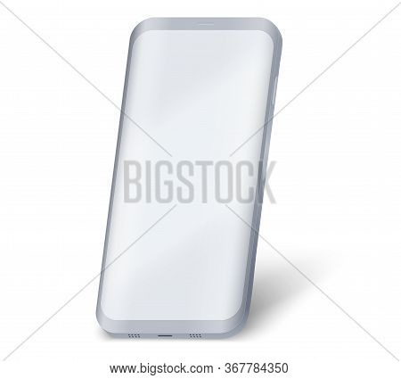 Smartphone Ui Presentation Mockup. Example Frameless Gray Model Smartphone With Touchscreen Showcase