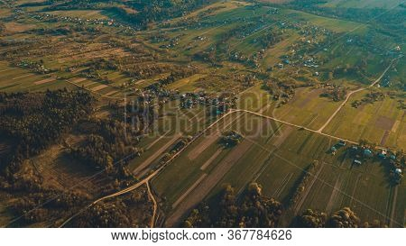 Aerial Photo Of A Ukrainian Village In The Center Of Europe. Beautiful Landscape Of Trostyanets Haml