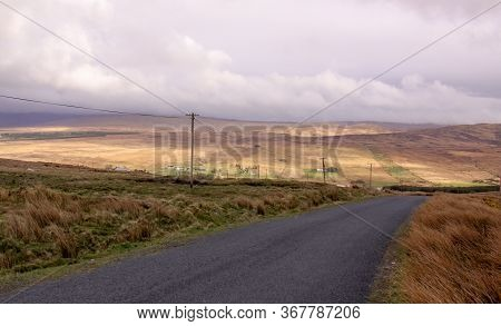 Road In The Countryside In Ireland Warm Landscape