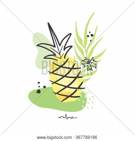 Hand Drawn Abstract Background Isolated On White. Vector Ananas