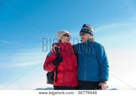 Portrait of senior retired couple in winter