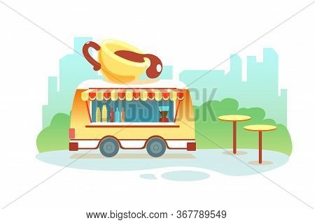 Coffee Truck At Park On City Background. Coffee To Go Cafe On Wheels Outdoor Vector Isolated Illustr
