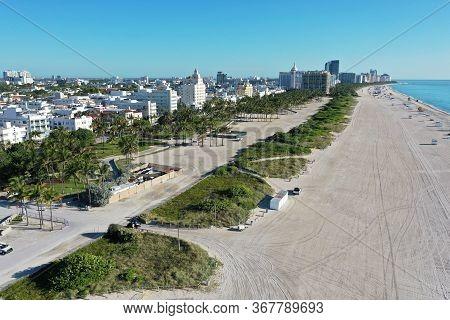 Aerial View Of South Beach And Lummus Park In Miami Beach, Florida Duing Coronavirus Beach, Hotel, P