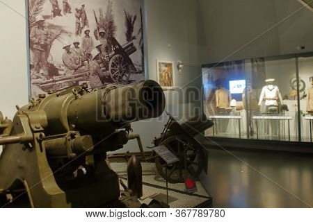 Wien, Austria - Aug 2019: Ww2 Heavy Artillery Exhibited At The Museum Of Military History. Hires.
