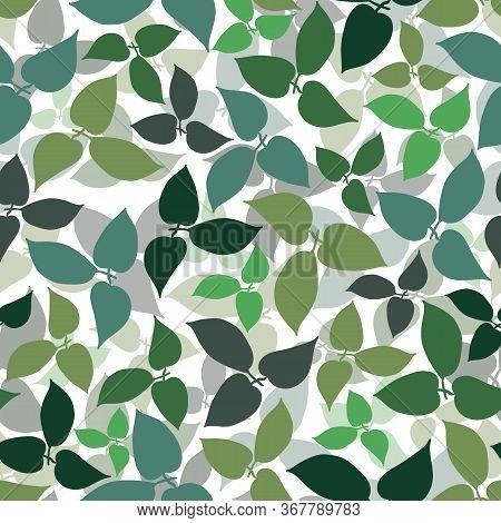 Green Leaf Allover Gradient White Background Design