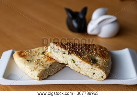Close Up Of Chinese Halal Food Known As Sesame Scallion Bread, A Popular Staple In Northern China. T