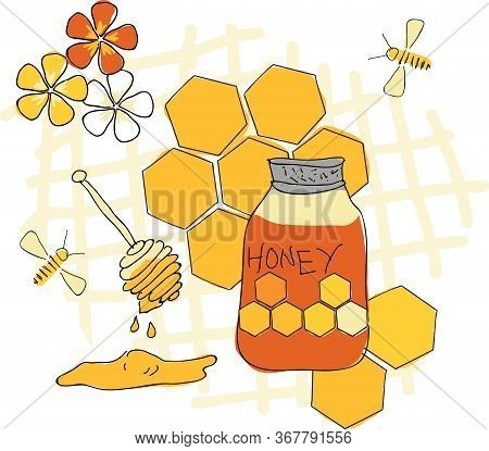 Sweet Honey Placement Print Vector Illustration Surface Design With Honey Honeybees Flowers And Hone
