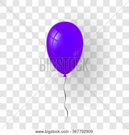 Purple Balloon 3d, Thread, Isolated White Transparent Background. Color Glossy Flying Baloon, Ribbon