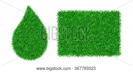 Green Grass Background 3d Set. Lawn Greenery Nature Drop, Frame Isolated On White. Field Texture Squ