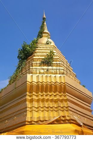 Golden Chedi, Buddhist Stupa Of The Wat Sri Suphan Silver Temple In Chiang Mai, Northern Thailand.