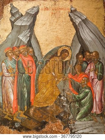 Corfu, Greece - March 17, 2018: Ancient Icon Of The Resurrection -  Descent Into Hell (the Anastasis