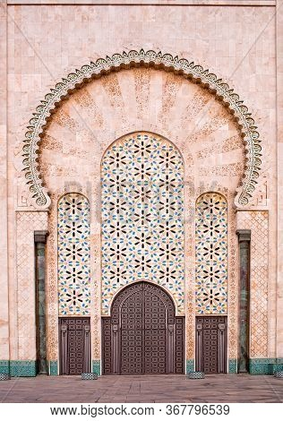Famous Hassan Ii Mosque View On January 18, 2014 In Morocco. The Mosque Is The Largest Mosque In Mor