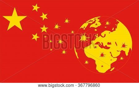 Concept Of Coronavirus In China.the Pandemic Is Taking Over The Entire Earth.red And Yellow Colors.v