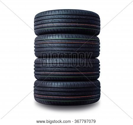 New Tires Stack Isolated On White Background.